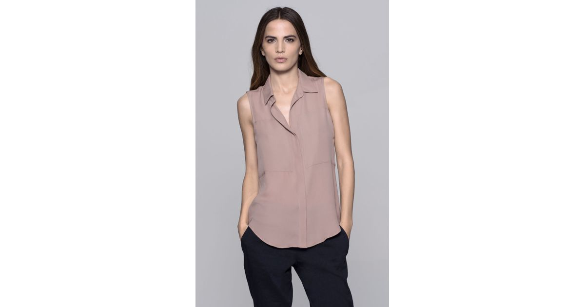 debcfc87739f01 Lyst - Theory Duria Double Georgette Blouse in Pink