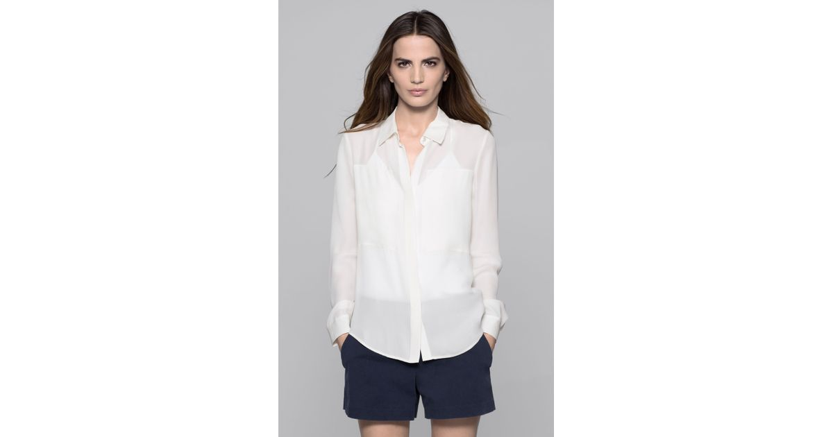 6912870b3f Lyst - Theory Durlia Double Georgette Blouse in White