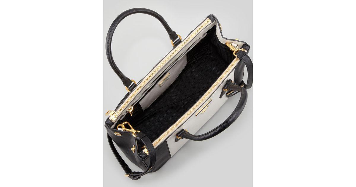 9ca362ac5ae3 Prada Bicolor Saffiano Doublezip Tote Bag in Black - Lyst