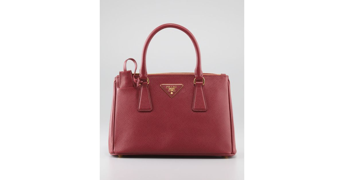 2645e8c80a5056 ... cheapest lyst prada mini saffiano lux tote bag in red 2507c 926f3