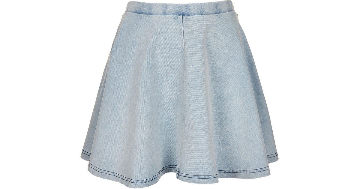 1f3caac3da Lyst - TOPSHOP Petite Denim Look Skater Skirt in Blue