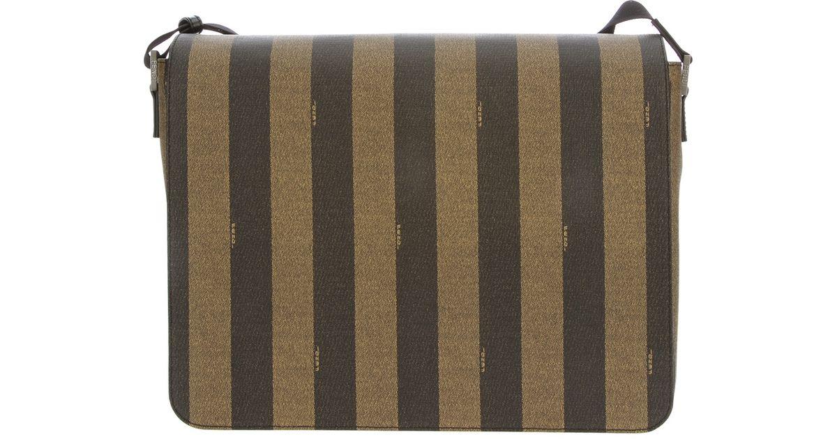 921e79b6ee Lyst - Fendi Pequin Striped Shoulder Bag in Brown for Men