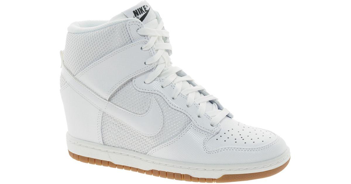 Lyst - Nike Dunk Sky High Mesh White Wedge Trainers in White c4c9558db9ac
