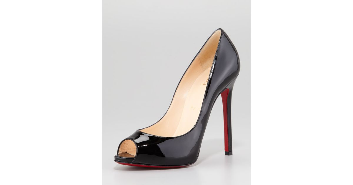 7f24309e45bf Lyst - Christian Louboutin Flo Patent Leather Red Sole Peeptoe Pump in Black