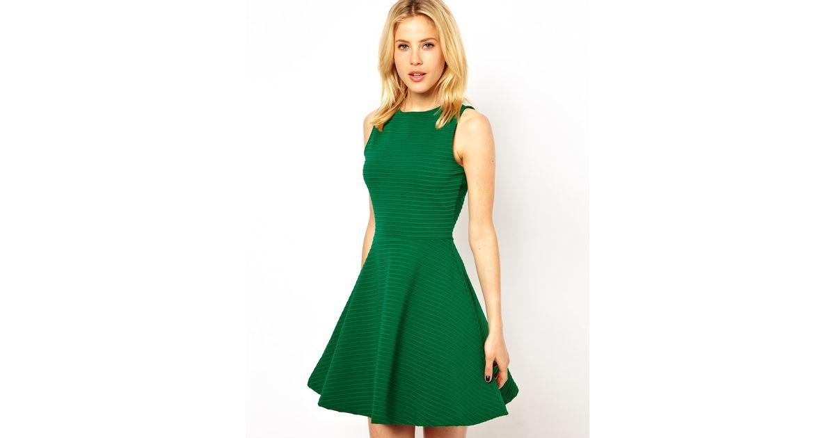 3b110095049e Lyst - ASOS Sleeveless Skater Dress in Ribbed Texture in Green