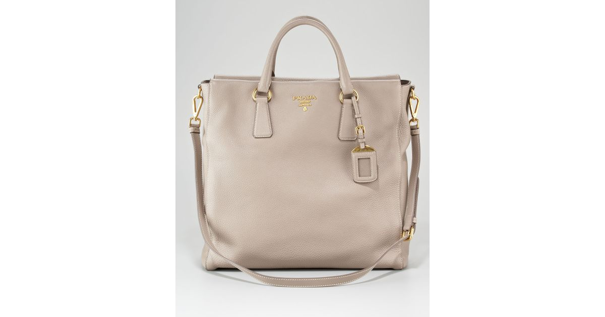 ea7df2393108 ... real lyst prada vitello daino northsouth tote bag in natural 8a683 d97e7