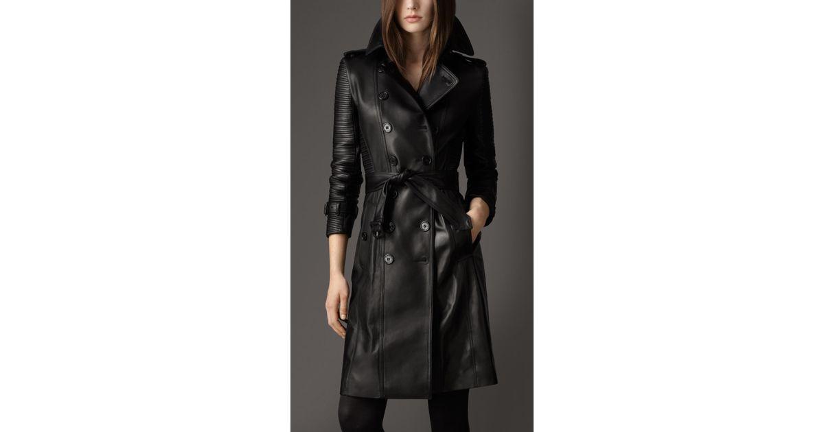 0f668a3c4 Burberry Black Long Lambskin Biker Trench Coat