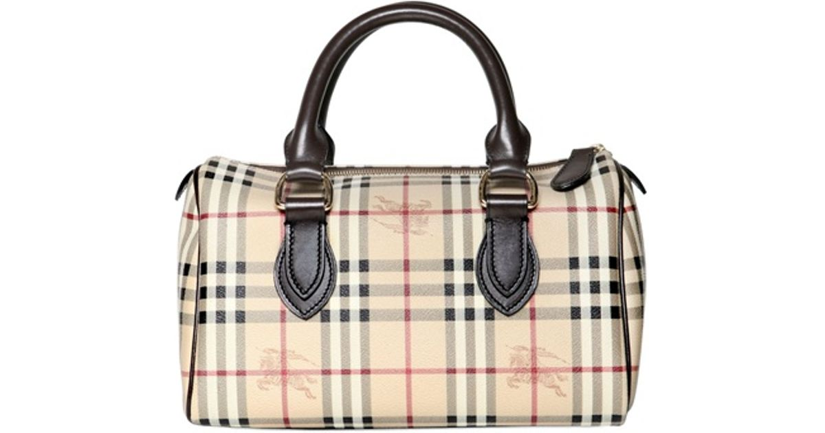 Lyst - Burberry Large Chester Haymarket Top Handle Bag in Natural 077cc5e84c3ea