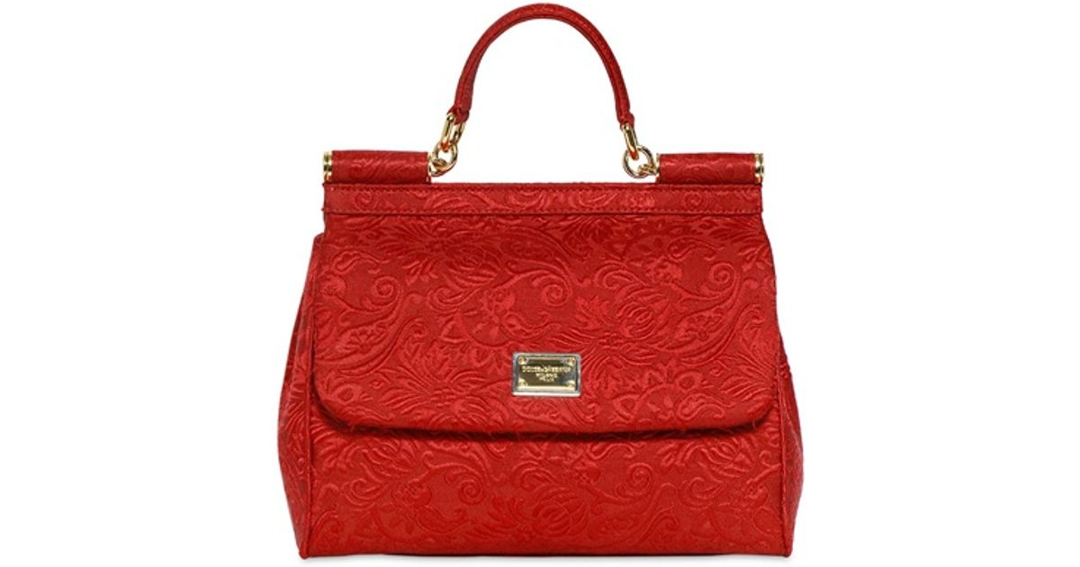 8ea7575cc0be Lyst - Dolce   Gabbana Brocaded Medium Miss Sicily Bag in Red