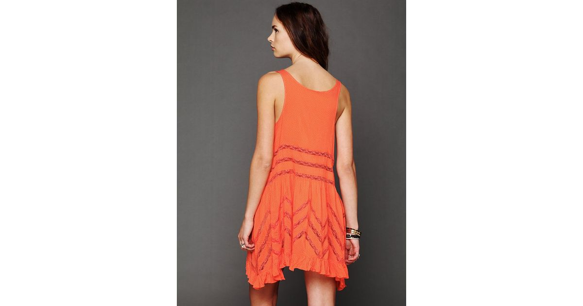 eabdb0d5be342 Free People Voile and Lace Trapeze Slip in Orange - Lyst