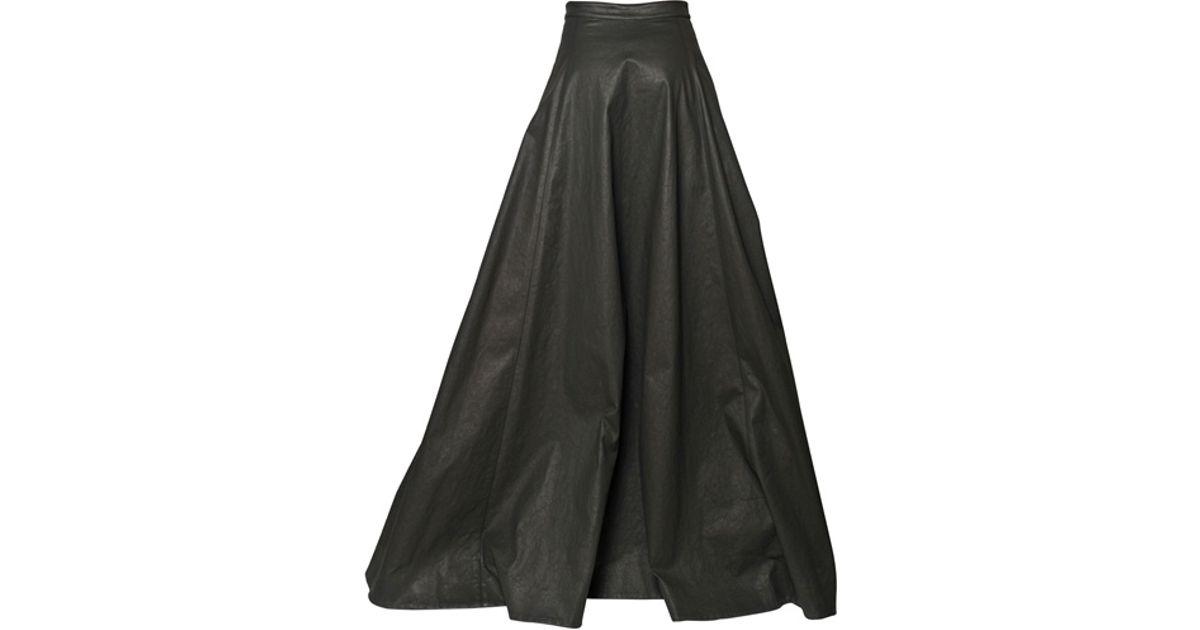 6b98ef4bba Gareth Pugh Light Waxed Cotton Long Skirt in Black - Lyst