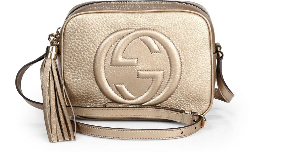 36c96527ad Gucci Soho Metallic Leather Disco Bag in Natural - Lyst
