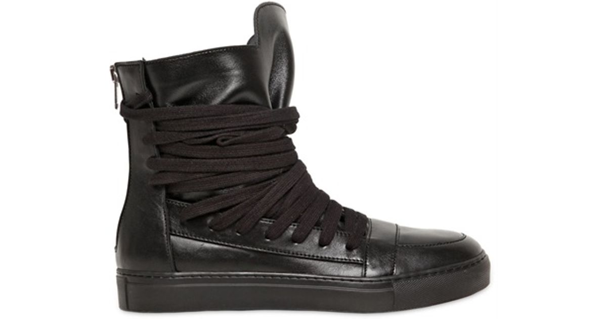 bc97b5393b Lyst - Kris Van Assche Wide Laced Calfskin High Top Sneakers in Black for  Men