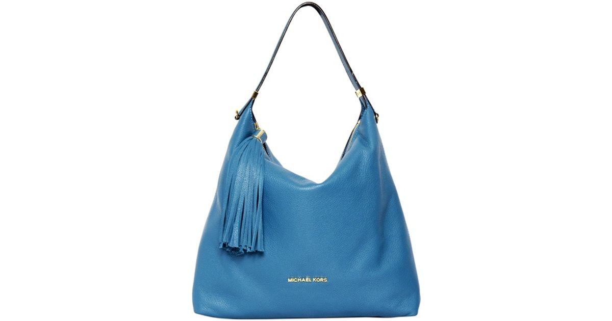 62db47d74b9737 MICHAEL Michael Kors Weston Grained Leather Hobo Bag in Blue - Lyst