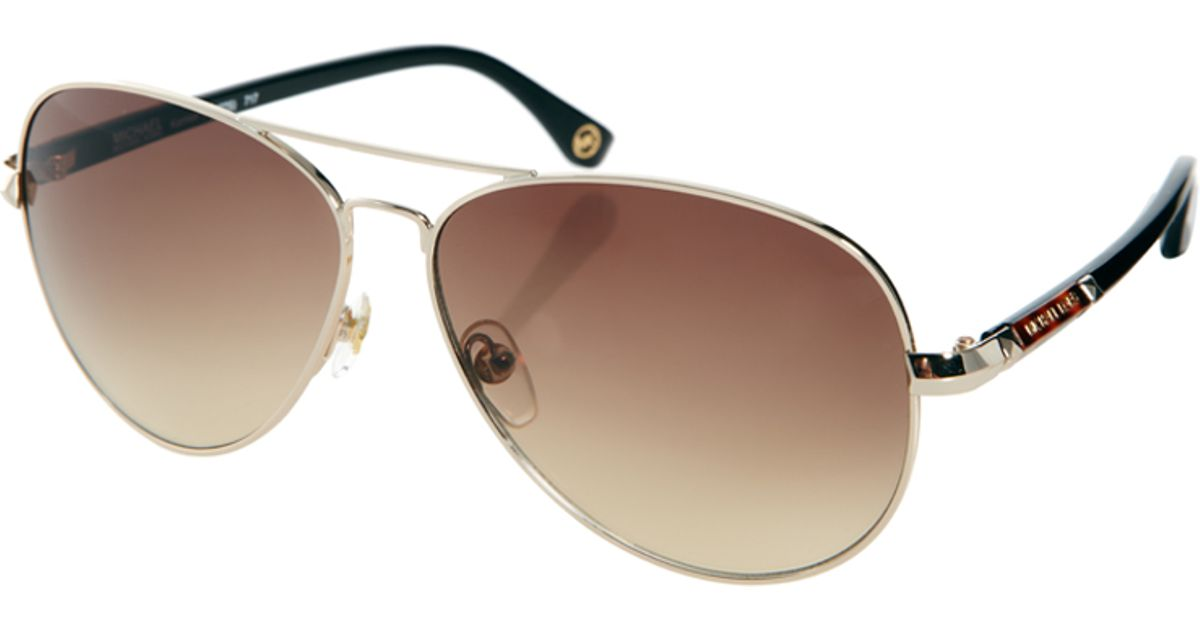 7ce1d880a8 Michael Stars Aviator Sunglasses. Lyst - Michael Kors Karmen Aviator  Sunglasses in Brown