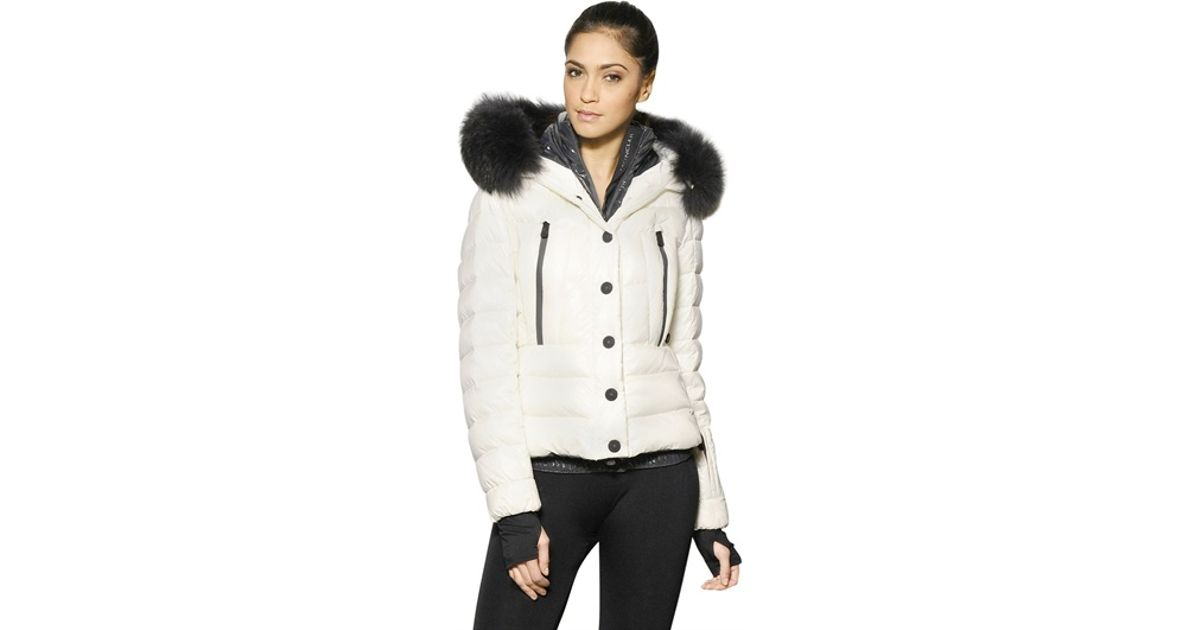 Moncler grenoble Bever Raccoon Fur Hood Nylon Down Jacket in White ...