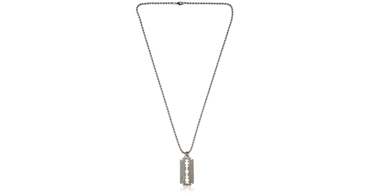 d9e9ab781f833 Philipp Plein Metallic Razor Blade Necklace for men
