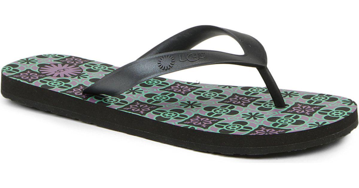 ab05adf3f25 UGG Black Mosaic Flare Rubber Flip Flops