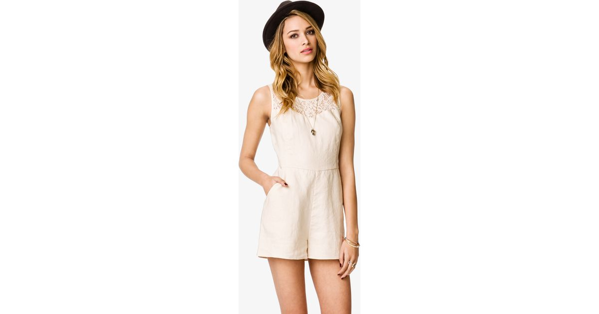 4f76661aeb1 Lyst - Forever 21 Linen Lace Yoke Romper in Natural