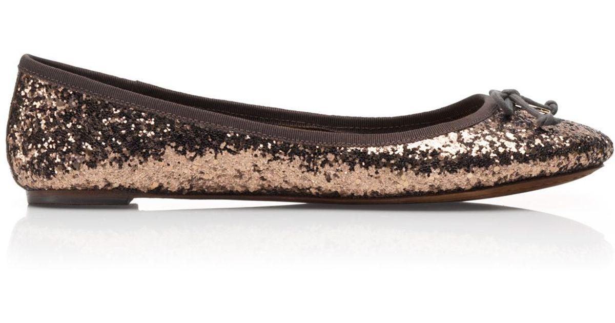 851bb4551 Lyst - Tory Burch Chelsea Glitter Ballet Flat in Brown