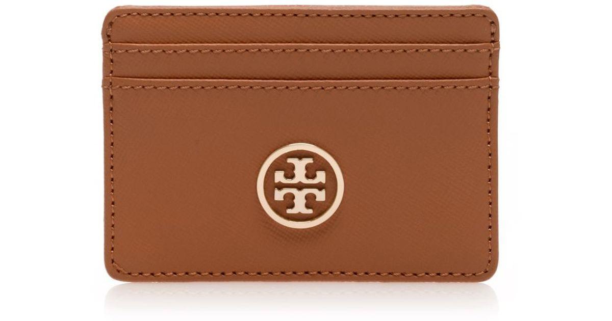 quality design a6539 d134d Tory Burch Brown Robinson Slim Card Case