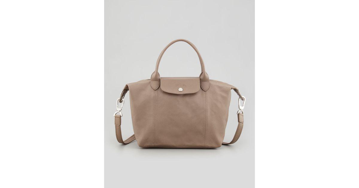 e5acec68e20a Lyst - Longchamp Le Pliage Cuir Small Handbag with Strap in Natural