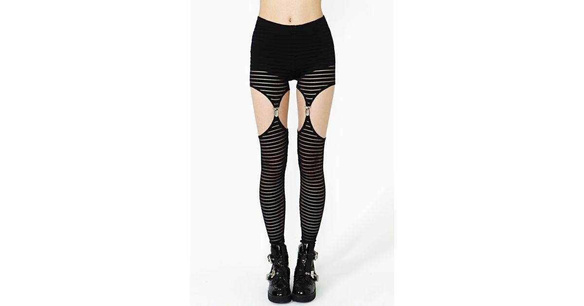 82a833be8e4aaa Nasty Gal Mesh Stripe Garter Leggings in Black - Lyst