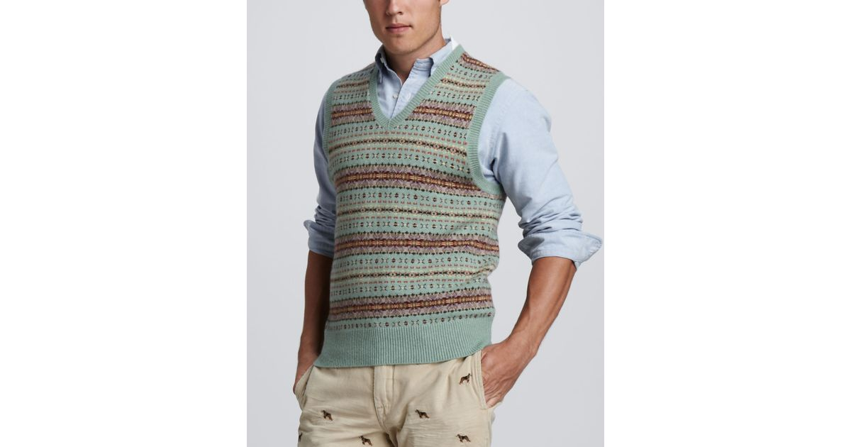 5de6d28e72b6 Lyst - Polo Ralph Lauren Fair Isle Sweater Vest in Green for Men