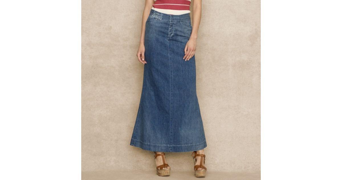 326a74142c Ralph Lauren Blue Label Blue Long Denim Skirt