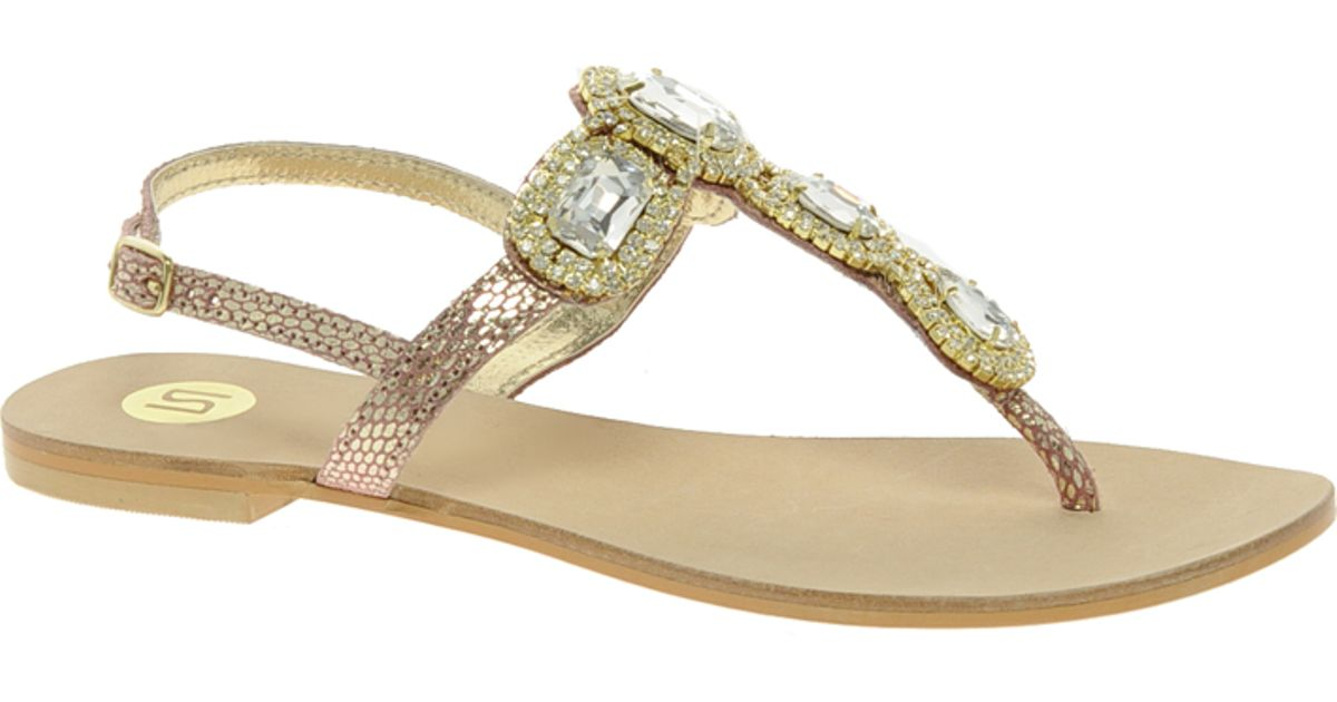 01ea8ed17434c1 Lyst - River Island Jewelled Sandals in Metallic