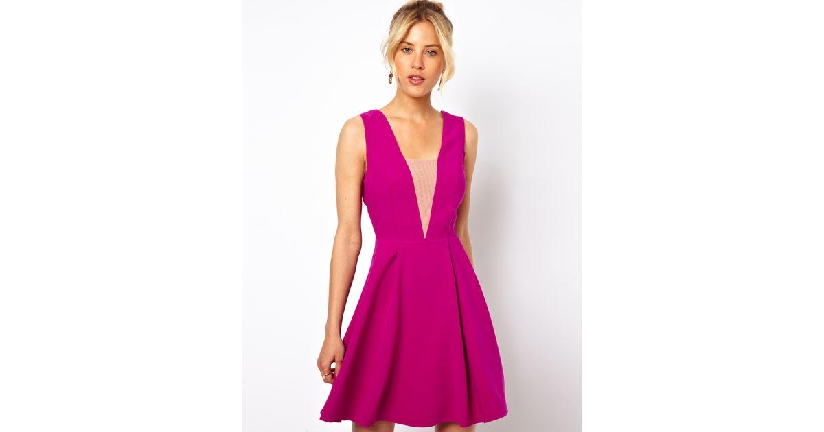 Pink deep plunge dress images