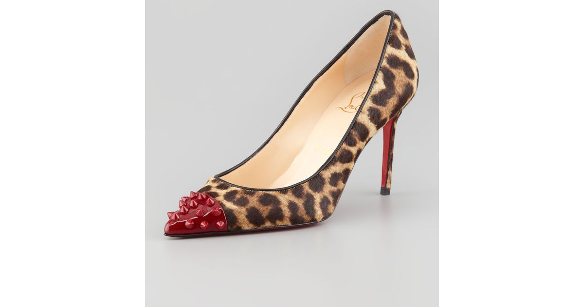 quality design 14889 e0ba5 Christian Louboutin Multicolor Geo Spike-toe Leopard Calf Hair Red Sole Pump