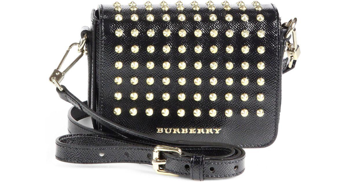 1f46ca738630 Burberry Berkeley Studded Crossbody Bag in Black - Lyst