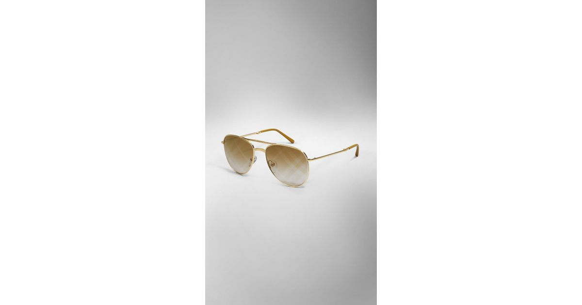 ad3cada9b75 Lyst - Burberry Spark Foldable Aviator Sunglasses With Check Lenses in  Metallic for Men
