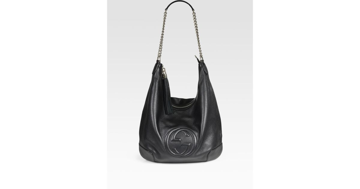924c5ef9db3 Lyst - Gucci Soho Leather Chain Hobo Bag in Black