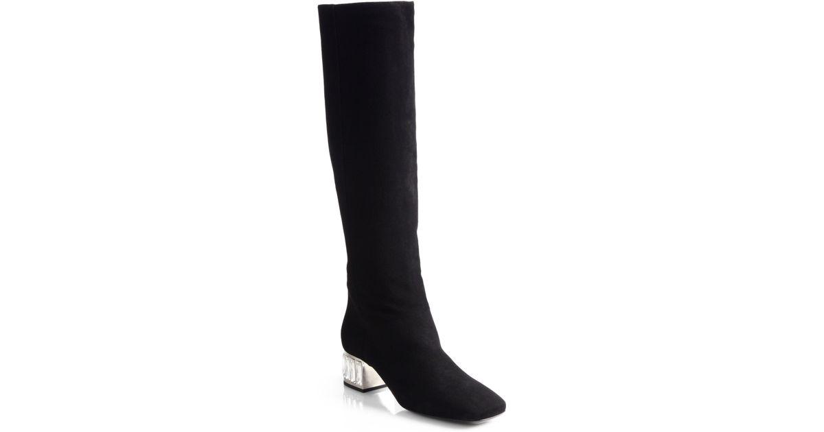 Miu miu Suede Crystal Kneehigh Boots in Black