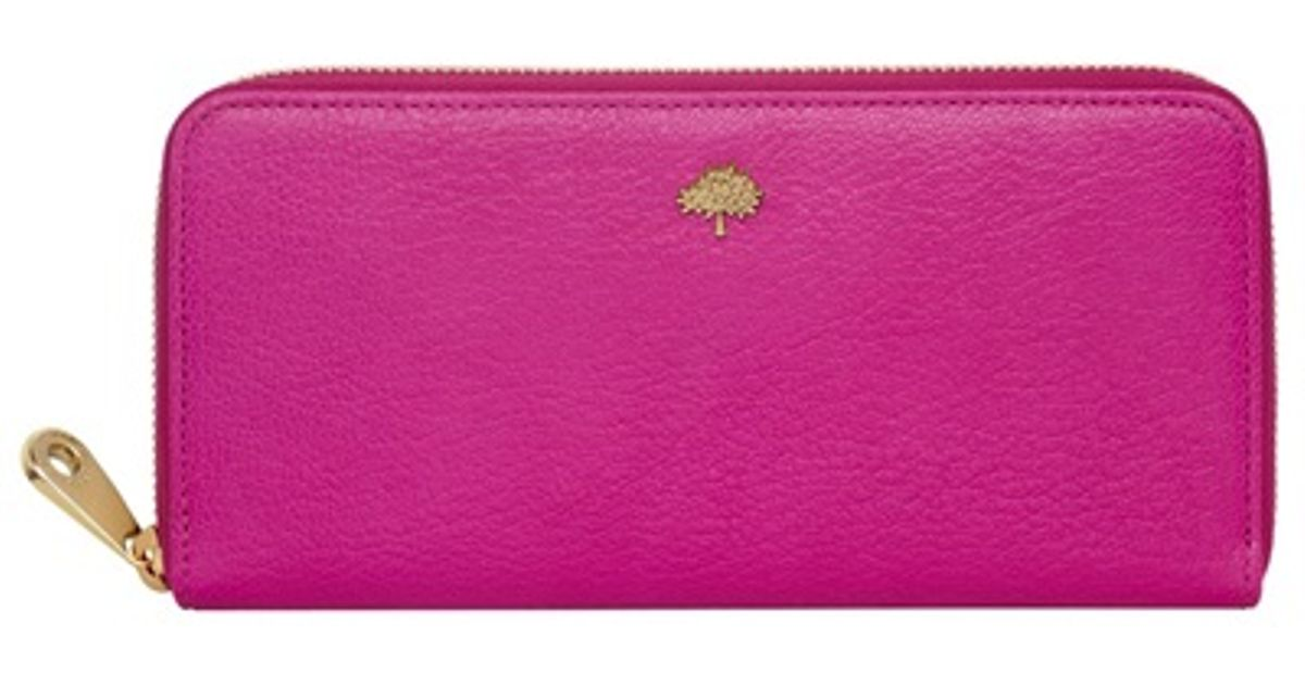 c0209a317ea clearance lyst mulberry tree zip around leather wallet in pink ecaed 57026