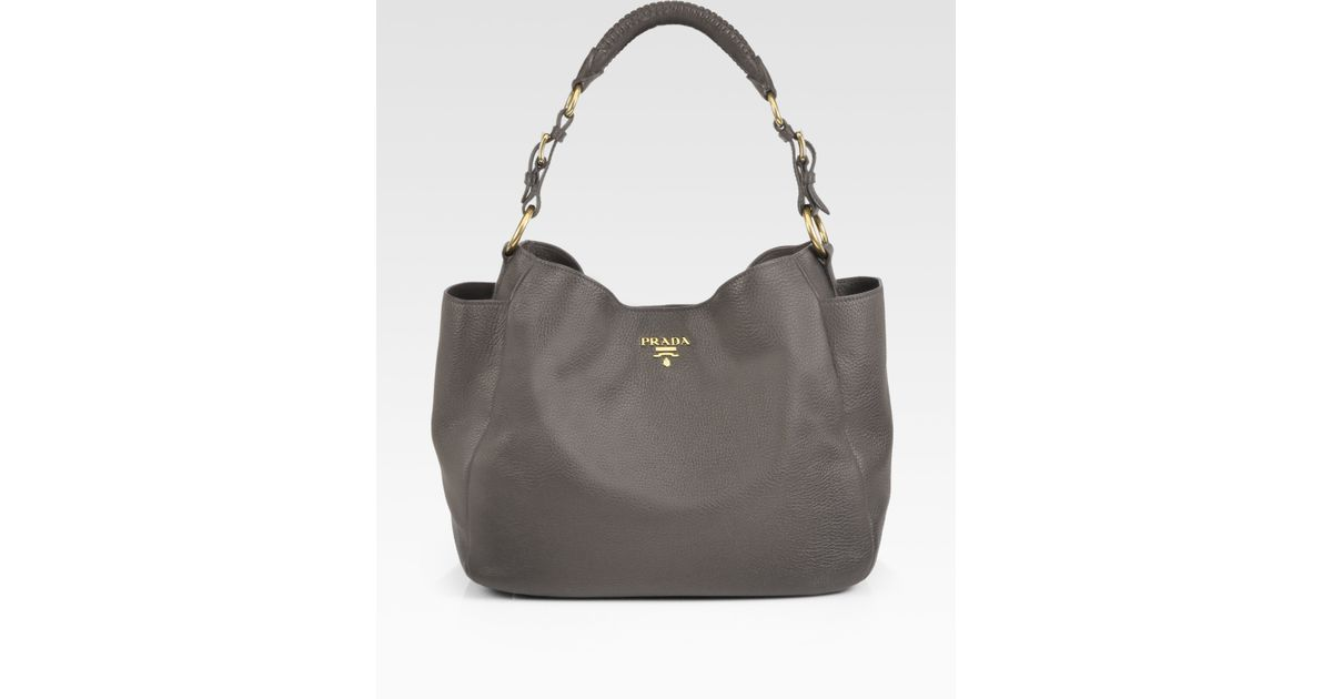 ac6ca98158ec Lyst - Prada Vitello Daino Hobo Bag in Gray