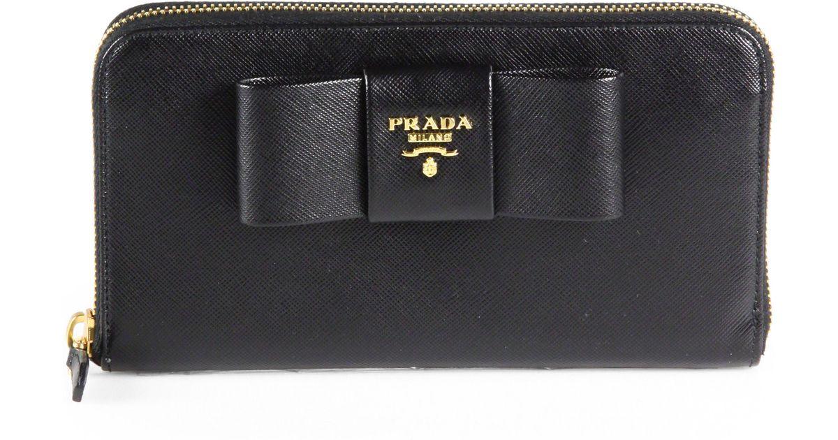 prada brand bags - prada saffiano bow continental wallet