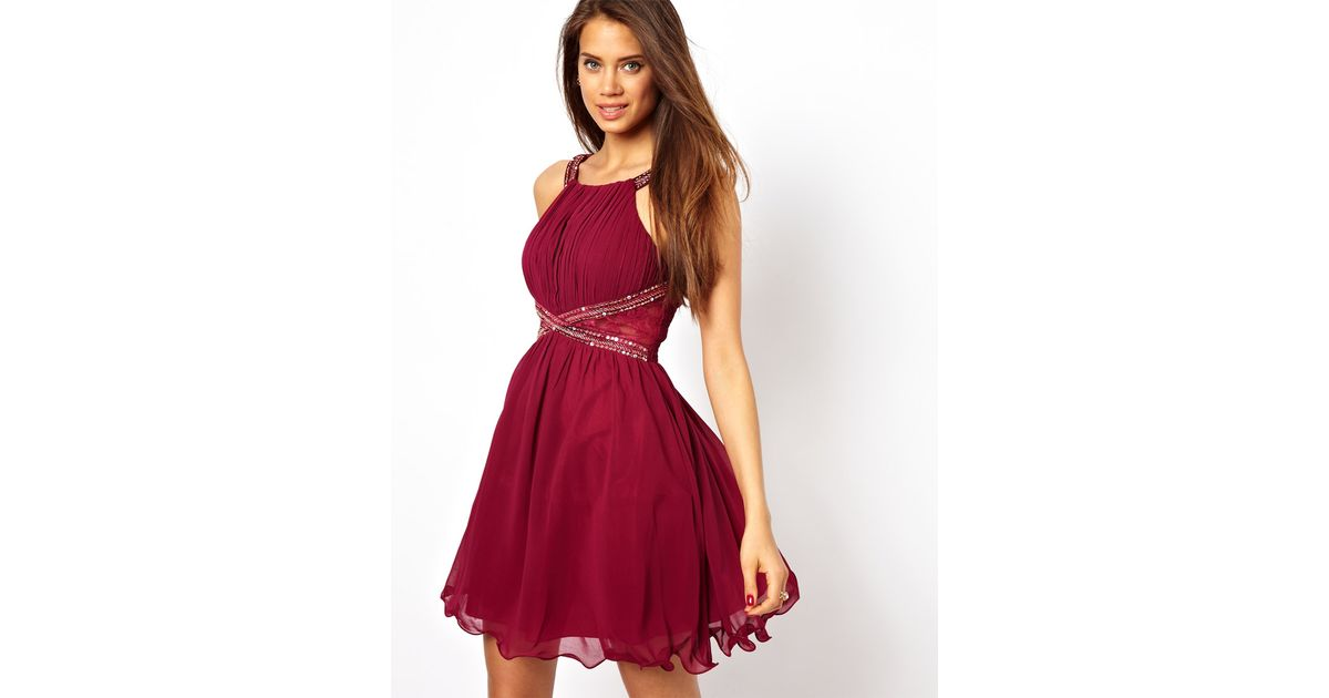 Little Mistress Embellished Prom Dress in Red - Lyst