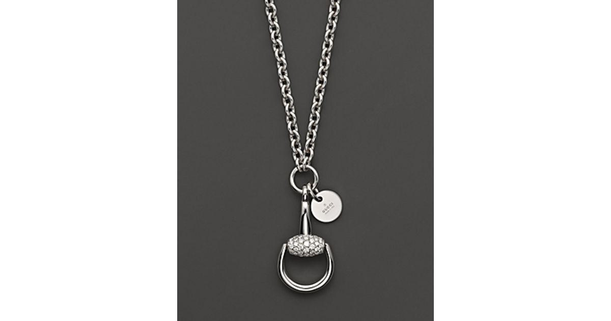 8f97a40ed Gucci Horsebit Diamond and 18k White Gold Necklace 169 in Metallic - Lyst