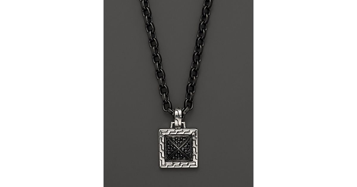 John hardy mens sterling silver lava pendant necklace with black john hardy mens sterling silver lava pendant necklace with black sapphire 22 in black for men lyst mozeypictures Gallery