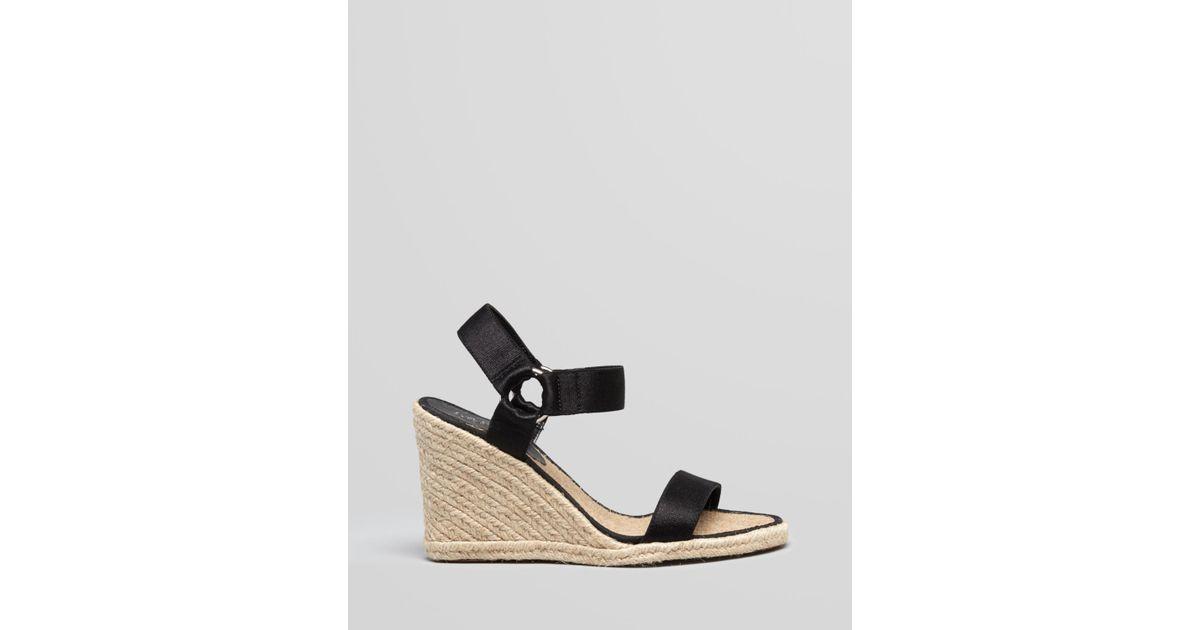 c34febfa41b Lauren by Ralph Lauren Black Espadrille Platform Wedge Sandals Indigo