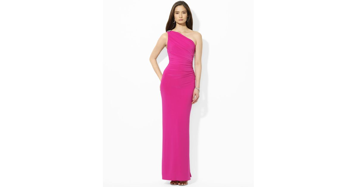 8402ba274f Lauren by Ralph Lauren Pink Floor Length One Shoulder Brooch Dress