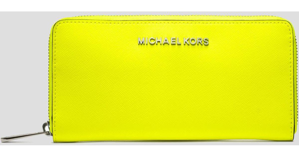 lyst michael michael kors wallet continental in yellow rh lyst com