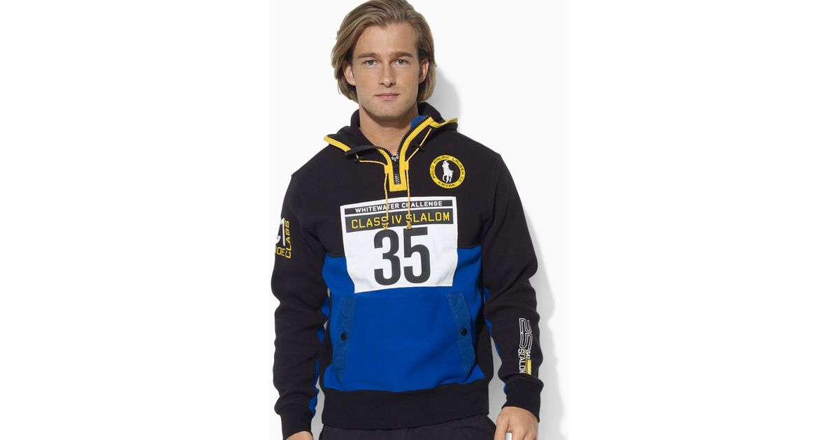 Lyst - Ralph Lauren Polo River Slalom Halfzip Fleece Hoodie in Blue for Men