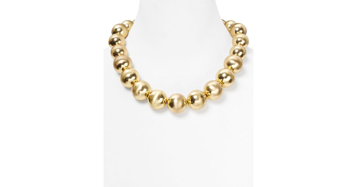 Lyst - R.J. Graziano Graduated Gold Bead Necklace 18 in Metallic