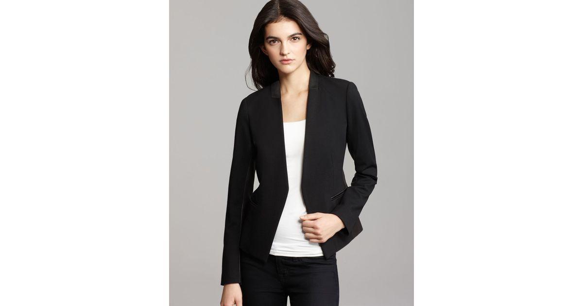 90b9015caa8 Theory Blazer Lanai Huntington Ponte Leather Combo in Black - Lyst