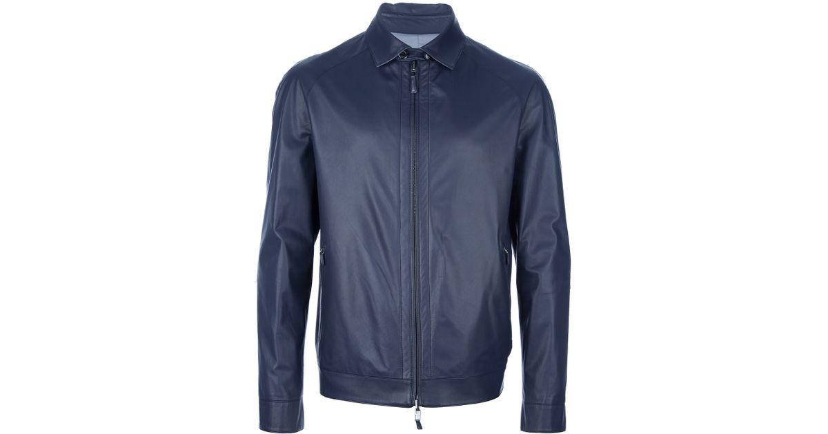 3638c305 Ermenegildo Zegna Blue Lambskin Jacket for men