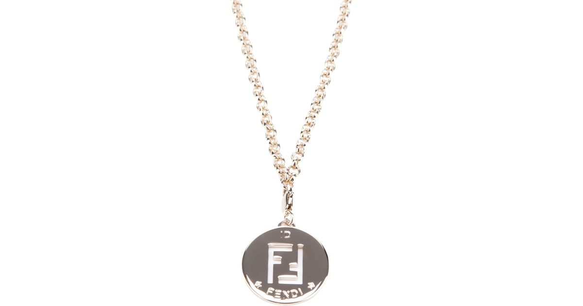 Lyst fendi medallion necklace in metallic aloadofball Images